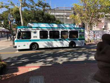 Electric bus on the streets of Santa Barbara