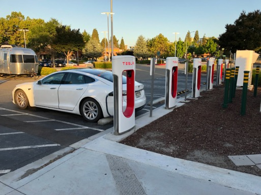 Tesla Supercharger in Dublin, CA.