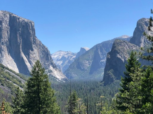 A view at Yosemite Valley and Half Dome from Tunnel Pass