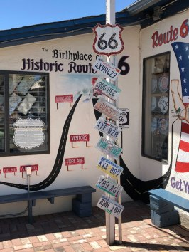 A clever reminder of which states Route 66 used to cross.